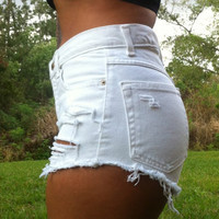 Custom Made White High Waisted Shorts