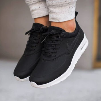 best website 78dc2 f8ffe Nike Air Max Thea Black Premium Leather SneakersNWT