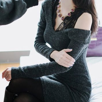 Deep Gray Long Sleeve V-Neck Lace Dress