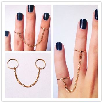 PEAPON Tassel chain double finger ring