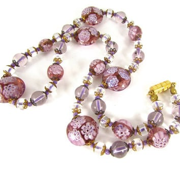Vintage Pink Venetian Glass Necklace (Lampwork Glass Flower Beads, Clear Crystals, 1940s WWII Sweetheart Jewelry, Valentines Day Gift)