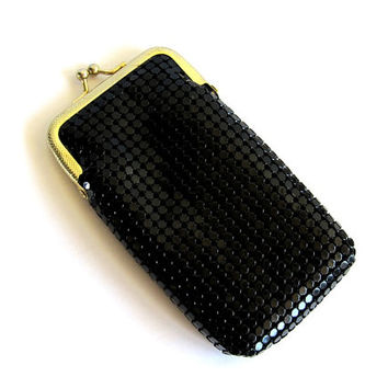 Vintage Black Mesh Chainmail Cigarette Case Black Metallic