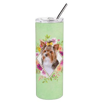 Yorkshire Terrier #1 Green Flowers Double Walled Stainless Steel 20 oz Skinny Tumbler CK4354TBL20