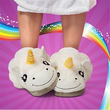 2017 Winter Warm Indoor Slippers Plush Unicorn Slippers for Grown Ups Cute Cartoon Whi
