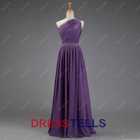Purple Bridesmaid Dress/One-shoulder Bridesmaid Dress/Long Prom Dress/Purple Prom Dress/Purple Evening Dress/Chiffon Wedding Party Dress/