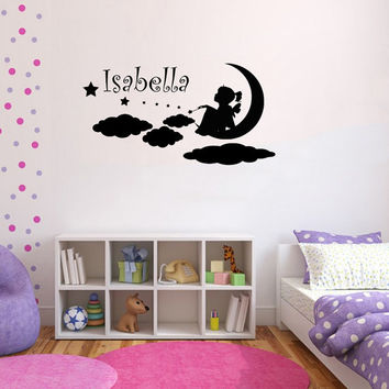 Personalized Name Decal Nursery Room Wall Decal Fairy Clouds Princess Vinyl Sticker Wall Decor Home Interior Design Art Mural U-6