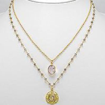 "Elegant Claire 19"" 18K Yellow Gold Over Brass OM Two Chain Statement Necklace with Rose & Smoky Quartz Semi Precious Stone"