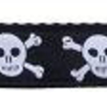 Skulls Nylon Ribbon Dog Collars 1 Wide 4ft Leash