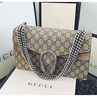 GUCCI Stylish Women Shopping Bag Leather Metal Chain Crossbody Satchel Shoulder Bag Khaki I