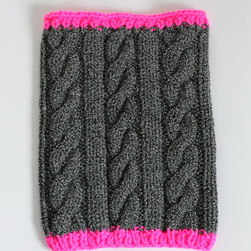 Cable Knit Cowl, Neon Pink and Grey Cowl, Chunky Neckwarmer