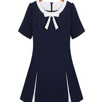 Navy Blue Short Sleeve Bow Neckline Chiffon A-line Mini Dress