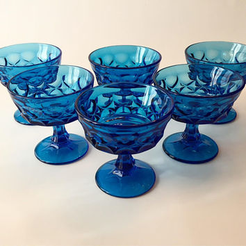 Blue Glass Champagne Coupes, Set of 6 Noritake Perspective Sherbet Cups