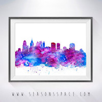 Philadelphia City Skyline,Philadelphia poster, Philadelphia art,map silhouette, USA print, map watercolor, City watercolor, City silhouette
