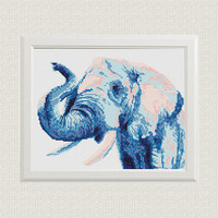 Elephant Cross Stitch Pattern Watercolor Animal Modern Printable PDF Pattern Counted Wilde Animal Colorful