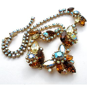 Light & Dark Topaz Rhinestone Necklace Vintage