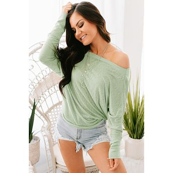 Talk Is Sweet Off the Shoulder Top (Mint)