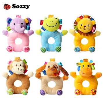 Sozzy Cute Soft Kids Baby Infant Rattles Plush Stuffed Animals Soothing Educational Circle Bell Toys for 3 month Children Gift