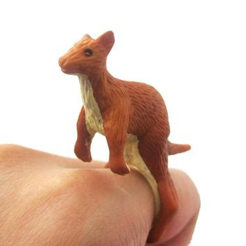 3D Kangaroo Figurine Shaped Animal Wrap Ring for Kids | US Size 4 to 6
