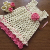 Crochet girl dress and shoes