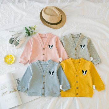 Baby Clothing Newborn Single-breasted V-neck Long Sleeve Embroidery Dog Jacket Little Kids Tops Boys Girls Outwear Clothes BY004