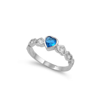 925 Sterling Silver CZ Heart of Eos Simulated Blue Topaz Ring 6MM