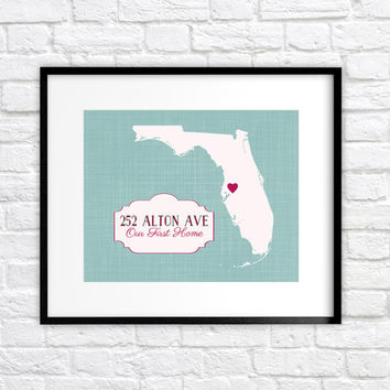 Our First Home Map, Custom Housewarming Gift for New Home - 8x10 Personalized Art Map, Address, First House, Gift for Framily