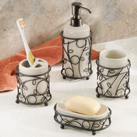 Twigz Bath Collection,Vanilla/Bronze,4-Piece Set