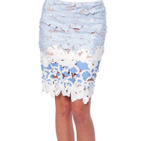 Cocktail Soiree Lace Pencil Skirt - White/Blue