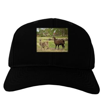 Standing Llamas Adult Dark Baseball Cap Hat by TooLoud