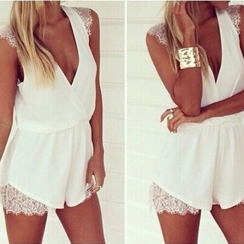 Feelingirl Summer Hot Sale Trumpet Rompers With Lace V-neck Sleeveless Rompers = 1696902596