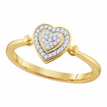 10kt Yellow Gold Womens Round Diamond Heart Love Cluster Ring 1/10 Cttw
