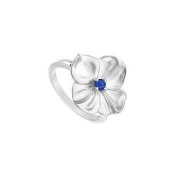 Diffuse Sapphire Flower Ring : .925 Sterling Silver - 0.10 CT TGW