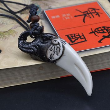 UMGODLY Retro Punk Tiger Wolf Tooth Pendant Tribal Wood Beads Eagle Necklace Dragon Talisman Imitation Bone Jewelry
