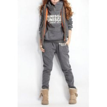Active Letter Pattern Long Sleeve Hoodie + Flocking Waistcoat + Pants Three-Piece Suits For Women