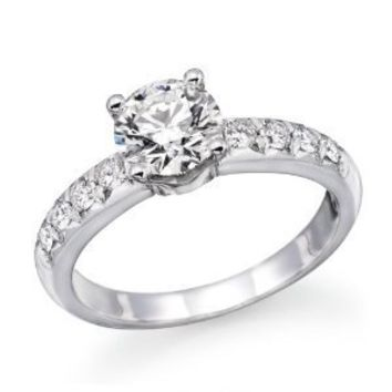 14K White Gold Brilliant Round Cut Diamond Engagement Ring (0.90 cttw, J-K Color, I1-I2 Clarity) - Size 4