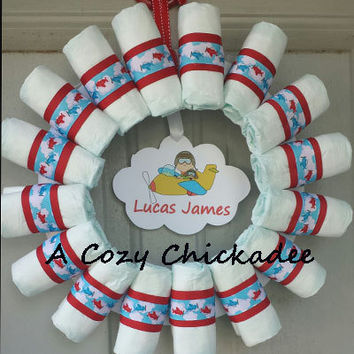Baby Boy Diaper Wreath-Airplanes and Cloudy Skies