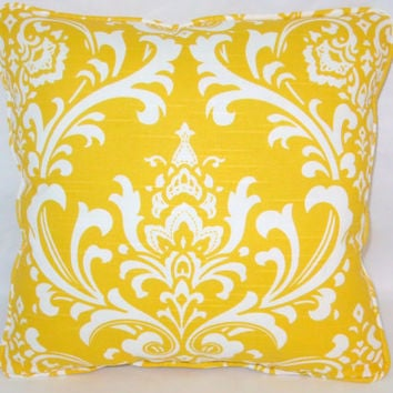 "Yellow and White Damask Print Throw Pillow,  15"" Square, Cotton with Welting, Insert Included,  Ready Ship"