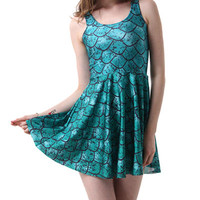 Blue Fish Scale Print Sleeveless Pleated Mini Dress