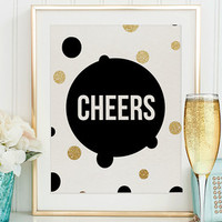 CHEERS SIGN,Champagne Sign,Wedding Anniversary,Bar Decor,Bar Sign,Cheers Poster,New Year Decor,Party Poster,Birthday Gift,Inspirational Art