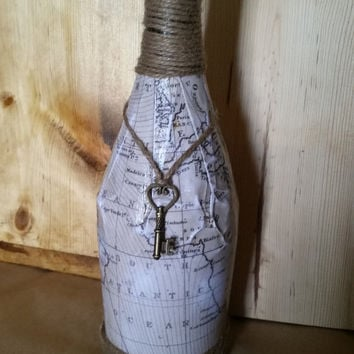 Vintage Map Wine Bottle Decor
