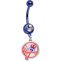 Licensed MLB Clear Gem Blue Anodized New York Yankees Belly Ring