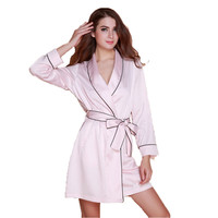 fashion womens 2016 new arrival silk robes pijamas with waistband bathrobes high quality MINI length sleepwear hot sale gifts