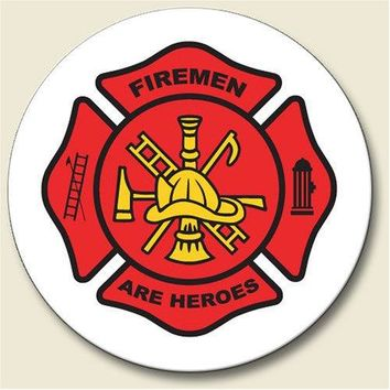 FIREMEN ARE HEROS Cross crest symbol Auto Coaster Single Coaster for Your Car cup holder  fire fighter man by Highland Graphics