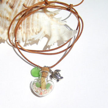 Beach Necklace, Beach Jewelry, Message In a Bottle Necklace, Sea glass Jewelry, Miniature Message Bottle, Gift idea, Terrarium Necklace