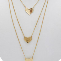 Layered Heart Charms Necklace | Wet Seal
