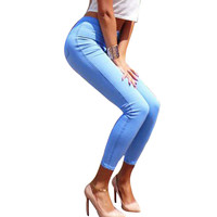 Women sexy slim hip slim high waist elastic skinny jeans pants women high street summer pencil jeans new 2013 denim pants