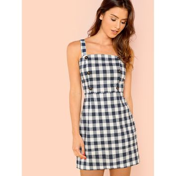 Black And White Thick Strap Button Detail Gingham Dress