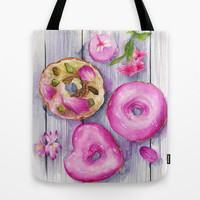 Doughnuts, Watercolor Illustration  Tote Bag by Koma Art