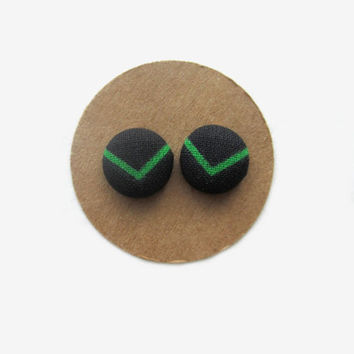 Retro Black with Green Chevron Stripe Earrings // Fabric Earrings // Retro // Vintage // 80s // Green // Chevron // Teen Girl // For Her