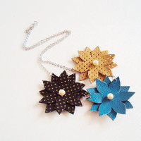 Leather Flowers Necklace, Honey Turquoise Blue,Pearl Necklace, Leather Jewelry, Marine Inspired